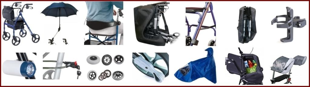 Rollator Zubehör für alle gängigen Rollator Modelle steigert die Sicherheit und den Komfort